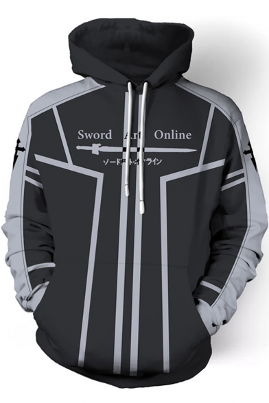 Sword Art Online Krito Logo Letter Printed ColorBlock Cosplay Costume Pullover Casual Black Drawstring Hoodie