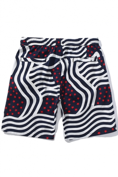 Unique Wave Stripe Stars Printed Summer Holiday Cotton Loose Surfing Beach Shorts for Guys
