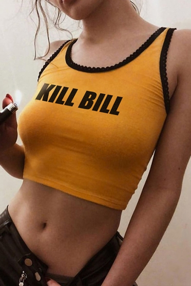 Women's Lace-Trim Letter KILL BILL Printed Yellow Cropped Tank