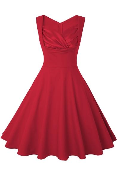 Women's Simple Plain Sleeveless Zip-Back Midi A-Line Flared Dresses
