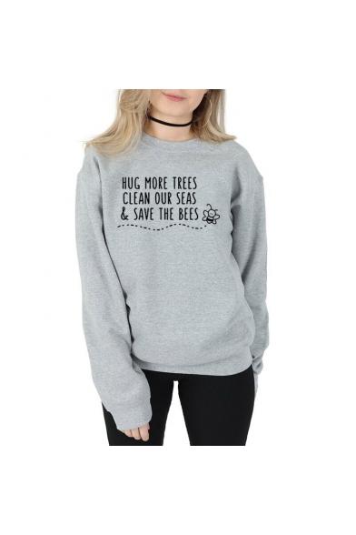 Fashion Bee Letter HUG MORE TREES CLEAN OUR SEAS Printed Crewneck Long Sleeve Casual Sweatshirt