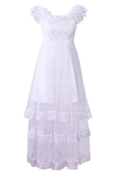 Fashion Off the Shoulder Plain Feather Embellished Lace Mesh Insert Maxi A-Line Dress