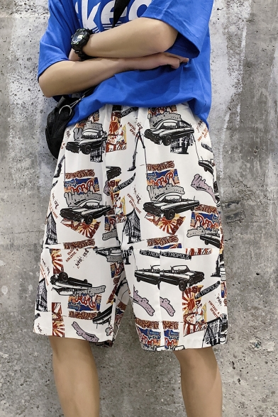 Guys Summer Street Fashion Car Letter Graffiti Slouch Fit Beach Holiday Shorts