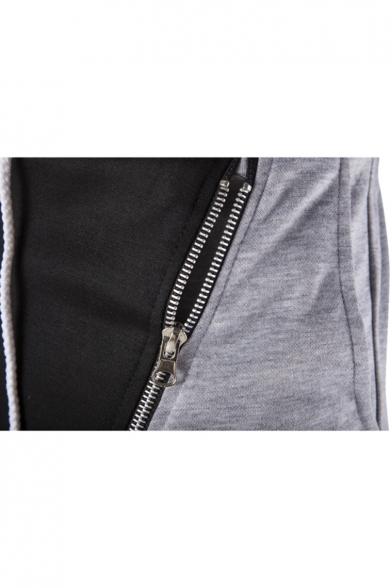 Guys Trendy Zip Embellished Colorblock Drawstring Waist Casual Sweatpants for Men