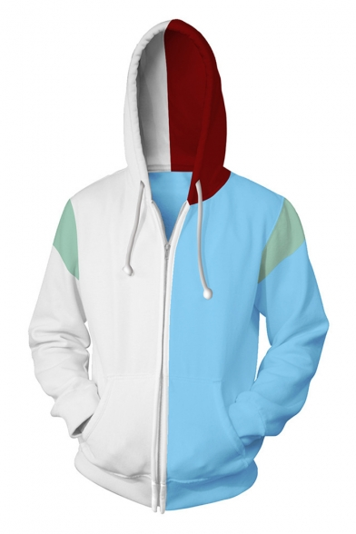 Hot Popular My Hero Academia Cosplay 3D Colorblock Blue and White Zip Up Hoodie