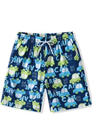 Lovely Cartoon Car Letter BEEP Print Drawstring Waist Blue Beach Shorts