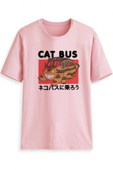 Lovely Cat Letter CAT BUS Printed Loose Fit Short Sleeve Cotton Pullover Tee