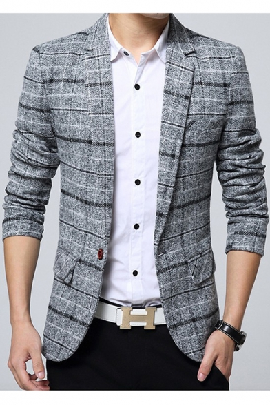 Men's Fashion Notched Lapel Long Sleeves Plaid Pattern Single Button Casual Blazer