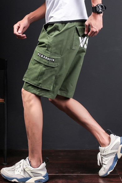Men's Summer Fashion Letter Print Pockets Patched Cotton Loose Fit Cargo Shorts