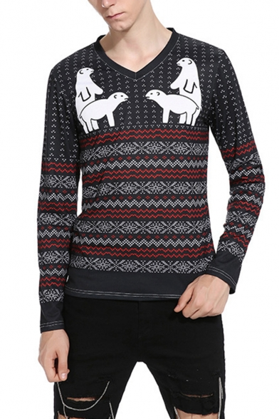 Mens Cartoon Animal Printed Wave Striped Long Sleeve Fitted V-Neck Navy T-Shirt