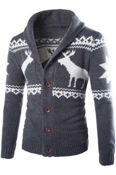 Mens Fashion Christmas Deer Printed Button Front Long Sleeve Sweater Cardigan