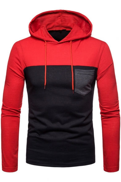Mens Fashion One Pocket Patched Chest Long Sleeve Colorblocked Drawstring Hoodie
