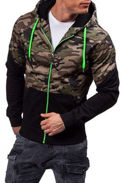 Mens New Stylish Camo Patched Slim Fit Zip Up Casual Hoodie