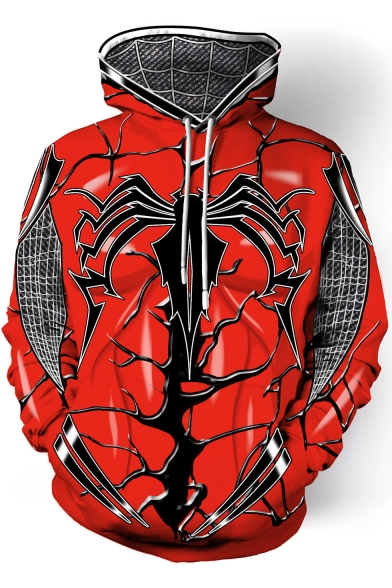 New Stylish 3D Spider Printed Long Sleeve Red Pullover Hoodie