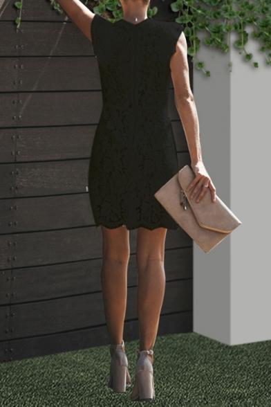 New Stylish Plain Ruffle Sleeve Crew Neck Zip Back Mini Lace Pencil Dress