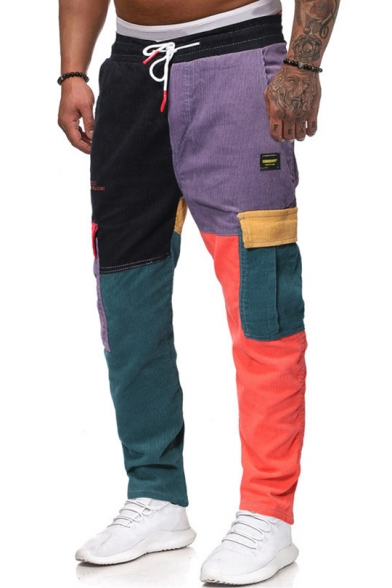 New Trendy Drawstring Waist Color Block Patchwork Flap Pocket Side Corduroy Cargo Pants Trousers for Men