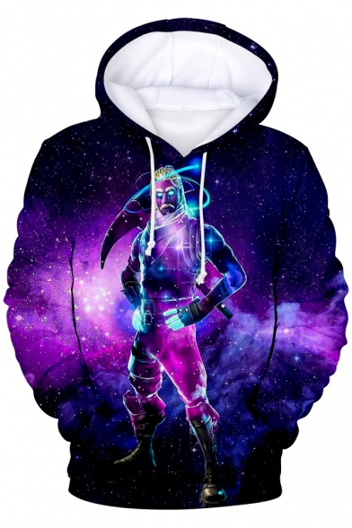 Popular Game Galaxy Comic Character Printed Long Sleeve Unisex Loose Drawstring Purple Hoodie