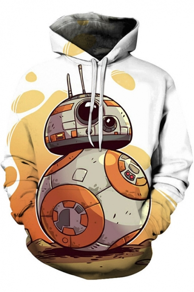 Star Wars Popular Funny Robot Printed Casual Sport Pullover White Hoodie