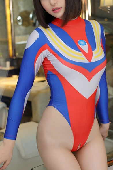 Ultraman Cosplay Costume Mock Neck Long Sleeve Blue Slim Bodysuit