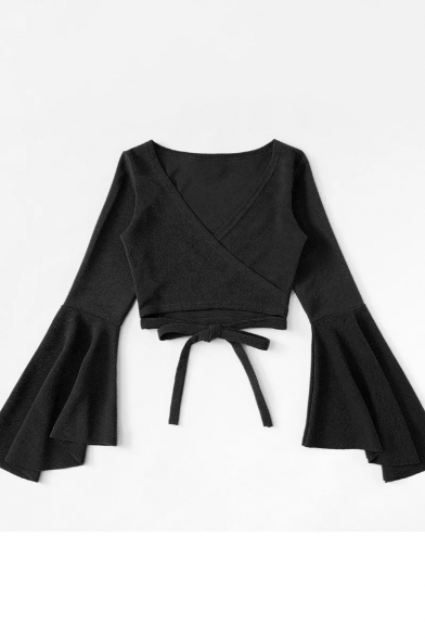 Women' Sexy Plain V-Neck Flare Long Sleeve Tied Front Cropped T-Shirt, LC515603, Black;burgundy;pink;red;white;yellow