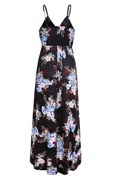 Women's Sexy V-Neck Sleeveless Floral Printed High Low Hem Maxi Slip Beach Dress