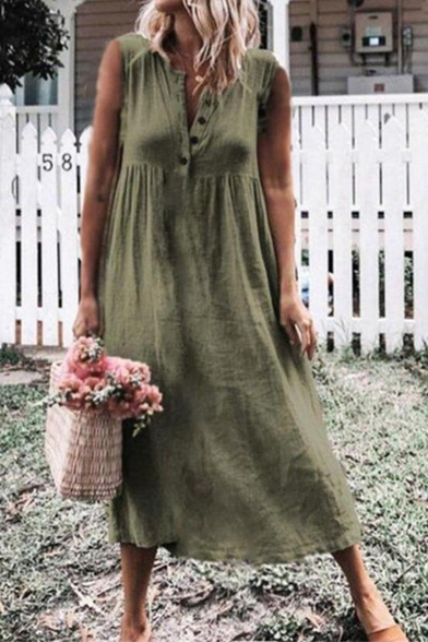 Womens Summer Solid Color Button V-Neck Sleeveless Casual Linen Midi A-Line Dress