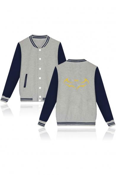 Batman Unisex Fashion Printed Stand-Collar Color Block Long Sleeve Button Down Baseball Jacket