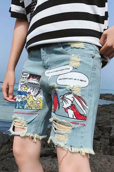 Cartoon Rabbit Comic Printed Destroyed Ripped Light Blue Denim Shorts for Guys