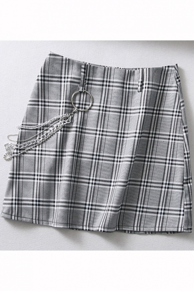 Cool Chain Embellished Plaid Pattern Grey Women's Bodycon Mini Skirt