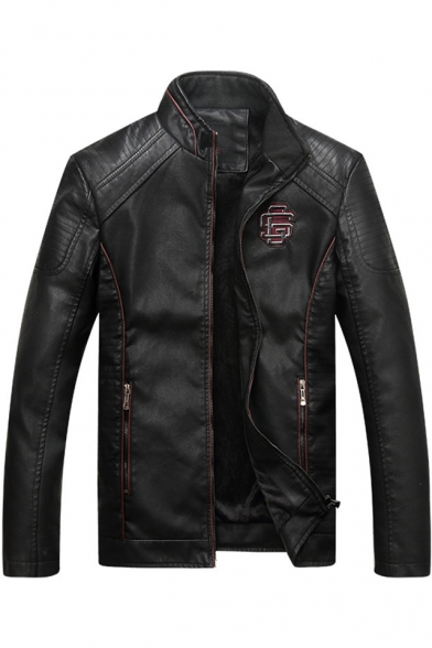 Fashion Logo Patch Quilted Detailing Stand-Up Collar Long Sleeve Zip Up PU Jacket