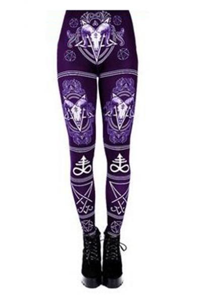 Gothic Style Ram Skull Pentagram Lucifer Sigil Printed Elastic Waist Slim-Fit Women's Leggings