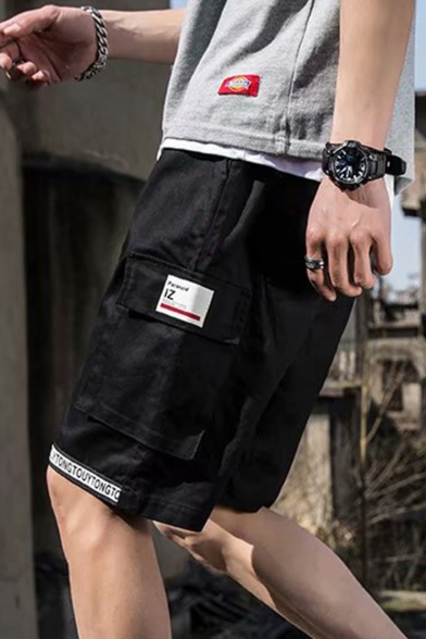Guys Summer Cool Letter Printed Drawstring Waist Hip Hop Cotton Cargo Shorts