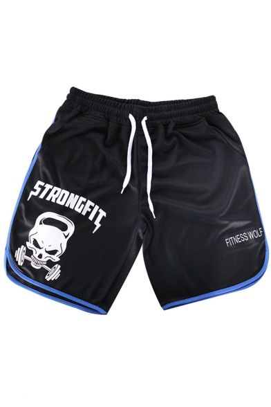 Hot Popular Skull Letter STRONGFIT Print Drawstring Waist Quick Dry Contrast Edge Mens Black Sport Running Shorts
