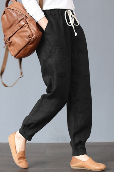 Leisure Simple Plain Multiple Pockets Drawstring Elastic Waist Loose Cotton Pants