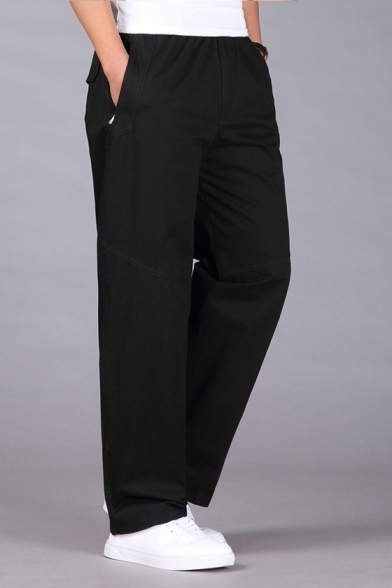 Mens Elastic Waist Flap Pocket Side Simple Plain Cotton Straight Fit Cargo Trousers