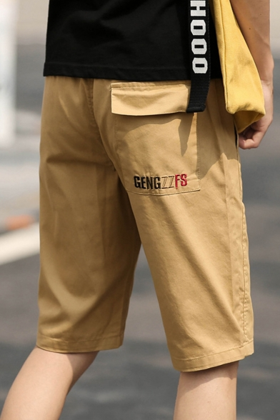 Mens Simple Letter Embroidery Drawstring Waist Loose Fit Cotton Chino Shorts