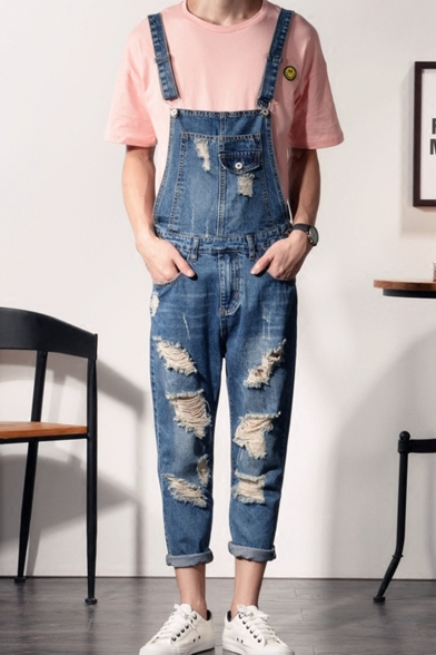 Mens Summer Stylish Destroyed Ripped Detail Rolled Cuff Denim Blue Jeans Suspender Overalls