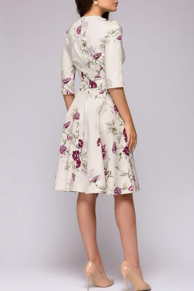 New Stylish Floral Pattern Round Neck Half Sleeve Midi A-Line Dress