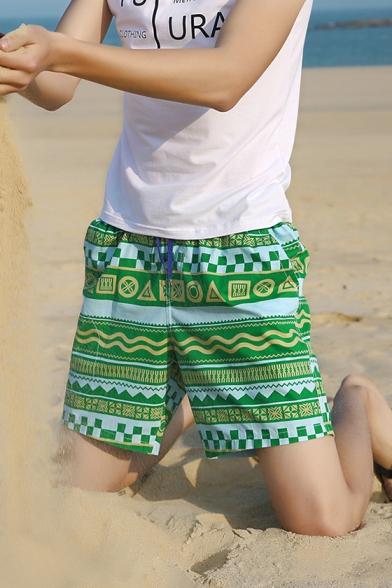 New Trendy Tribal Geometric Printed Guys Drawstring-Waist Holiday Beach Swim Trunks