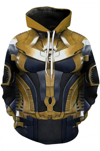 Popular Avengers Endgame Thanos Battle Suit Cosplay Unisex Pullover Gold Hoodie