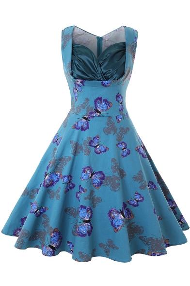 Retro Style Butterfly Polka-Dot Print Sleeveless Midi A-Line Flared Dresses