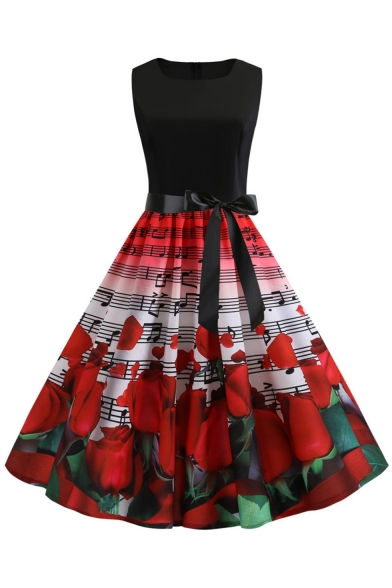 Retro Style Notes Rose Printed Sleeveless Bow-Tied Waist Midi Flare Dress