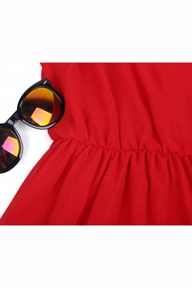 Sexy Simple Plain Spaghetti Straps Chiffon Mini Cami Dress
