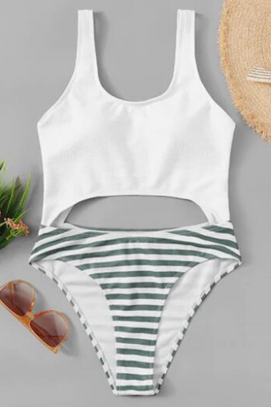 Sexy White Hollow Out Classic Stripes Printed Sleeveless One Piece Swimwear