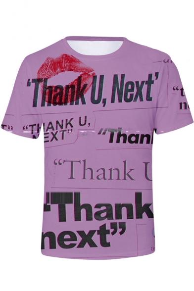 Stylish American Singer Red Lip Letter THANK U NEXT Purple T-Shirt