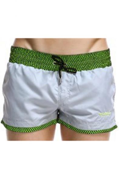Summer Fashion Plaid Printed Drawstring Waist Men's Casual Beach Swim Shorts