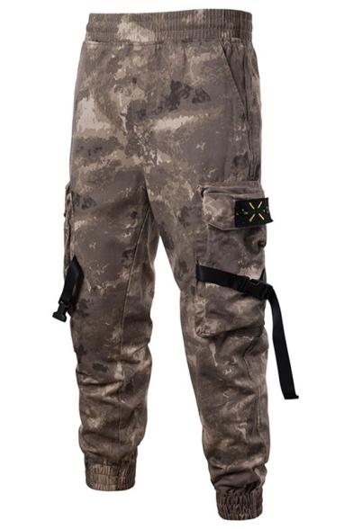 Summer Mens Fashion Camouflage Printed Drawstring Waist Buckle Ribbon Pocket Casual Cargo Pants