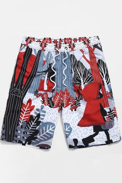 Summer New Trendy Cartoon Colorful Painting Drawstring Waist Mens Surfing Beach Shorts