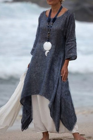 Womens Summer New Fashion Solid Color Round Neck Three-Quarter Sleeve Maxi Linen Dress