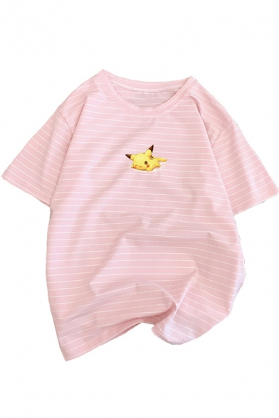 Cartoon Cute Pikachu Stripes Printed Round Neck Short Sleeve Loose Fit T-Shirt, LC512209, Blue;pink